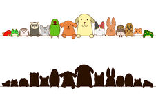 Pets border set with silhouette Royalty Free Stock Images