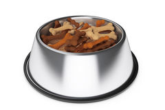 Pets Bowl with Dog Food Bones. 3d Rendering Stock Photo