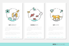 Pets Business Brochure. Linear Thin Line Icons with Dog Cat Bird and Fish Royalty Free Stock Photo