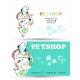 Pets business card. For the shop and care stock illustration