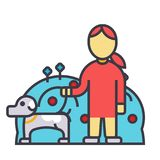 Pets care, dog with woman, animal help flat line illustration, concept vector isolated icon. Pets care, dog with woman, animal help flat line illustration Royalty Free Stock Images