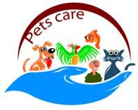 Pets care symbol. Isolated line art pets care symbol design stock illustration