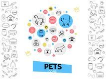 Pets Care Template. With cat dog collars feed doghouse carrier medical kit leash pills comb nail clippers horse line icons isolated vector illustration Stock Photo