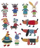 Pets, cartoon characters. Art collage. Colorful illustration for children Royalty Free Stock Photography