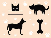 Pets Cat and Dog - Signs. Royalty Free Stock Image