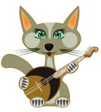 Cat plays on music instrument. Pets cat plays on music instrument dombra Stock Images