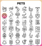 Pets concept detailed line icons. Set in modern line icon style concept for ui, ux, web, app design Stock Photography