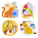 Pets Design Concept. Including cat with toy, parrots near birdcage, rodents, dog with bones isolated vector illustration Royalty Free Stock Images