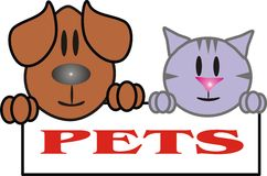 Pets a dog and a cat Stock Photo