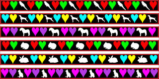 Pets, dog, cat, rabbit border royalty free illustration