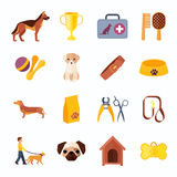 Pets dog flat icons set Stock Photos
