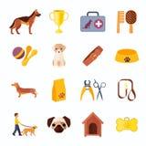 Pets dog flat icons set Stock Photos