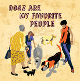 Pets dogs and people fun sign Royalty Free Stock Photo