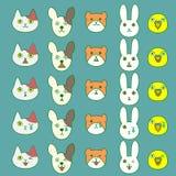 Pets facial expressions set Stock Photography