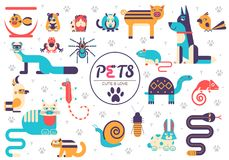 Pets falt illustration concept. Wildlife and home animals vector design icons.  Stock Photography