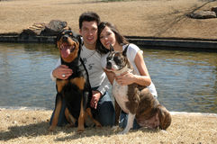 Pets are Family. Happy married couple taking pictures with their dogs in the park Royalty Free Stock Image