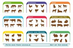 Pets and farm animals icons Royalty Free Stock Images