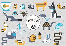 Pets flat illustration concept. Wildlife and home zoo animals vector design icons. Pets flat illustration concept. Wildlife and home zoo animals vector design Stock Image