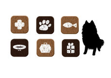 Pets food, veterinary, shop wooden icons set Royalty Free Stock Images