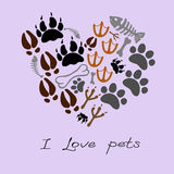 Pets footsteps card. In vector Royalty Free Stock Photo