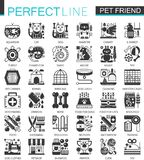 Pets friends classic black mini concept symbols. Vector pet modern icon pictogram illustrations set. Royalty Free Stock Photo