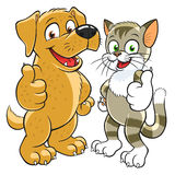 Pets gesturing thumb up. Happy cartoon kitten and pup gesturing thumbs up stock illustration