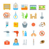 Pets grooming and healthcare accessories flat vector icons stock illustration