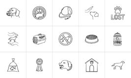Pets hand drawn outline doodle icon set. Outline doodle icon set for print, web, mobile and infographics. dogs care, walking, training vector sketch Royalty Free Stock Images