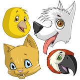 Pets heads. Cartoon illustration of pets  heads on white Royalty Free Stock Images