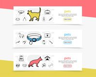 Pets Horizontal Banners. With cat dog horse carriers feed care tools and medical instruments line icons vector illustration Stock Image