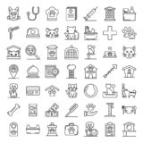Pets hotel icons set, outline style stock illustration