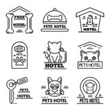 Pets hotel icons set, outline style royalty free illustration