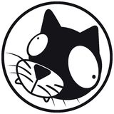 Pets icon cat b&w. Pets icon (symbol), cat. Black and white Royalty Free Stock Images