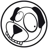 Pets icon dog b&w. Pets icon (symbol), dog. Black and white Royalty Free Stock Image