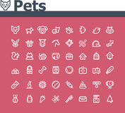 Pets icon set. Set of the simple pets related icons Royalty Free Stock Image