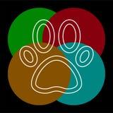 Pets paw print vector icon. Pets icon, vector paw print - animal illustration, pet symbol. Thin line pictogram - outline editable stroke vector illustration