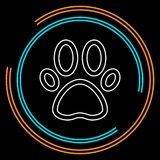 Pets icon, vector paw print - animal illustration, pet symbol royalty free illustration