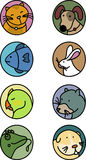 Pets Icons. Collection of 8 most commons pets royalty free illustration