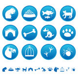 Pets icons. On round buttons vector illustration