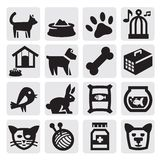 Pets icons. Vector black pets icons set on gray Stock Photos