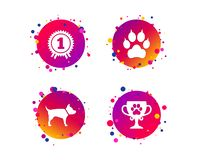 Pets icons. Cat paw with clutches sign. Vector royalty free illustration