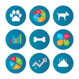 Pets icons. Dog paw and feces signs. Stock Photos