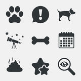 Pets icons. Dog paw and feces signs. Royalty Free Stock Image