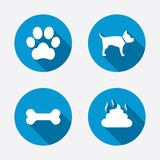 Pets icons. Dog paw and feces signs vector illustration