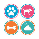 Pets icons. Dog paw and feces signs. Royalty Free Stock Images