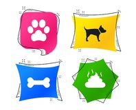 Pets icons. Dog paw and feces signs. Vector. Pets icons. Dog paw and feces signs. Clean up after pets. Pets food. Geometric colorful tags. Banners with flat stock illustration