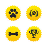 Pets Icons. Dog Paw Sign. Winner Laurel Wreath. Royalty Free Stock Images