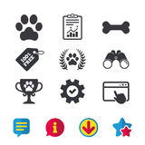 Pets icons. Dog paw sign. Winner laurel wreath. Stock Photography
