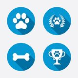 Pets icons. Dog paw sign. Winner laurel wreath. And cup symbol. Pets food. Circle concept web buttons. Vector Royalty Free Stock Photography