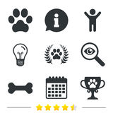 Pets icons. Dog paw sign. Winner laurel wreath. Royalty Free Stock Photography